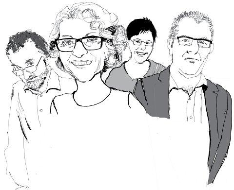 LEGEVAKTSAMARBEID: Audun Grødem, Grete Strømsmo, Olaug Thingbø og Tom Jakob Bru er alle med i påskekrimmen i 2016.