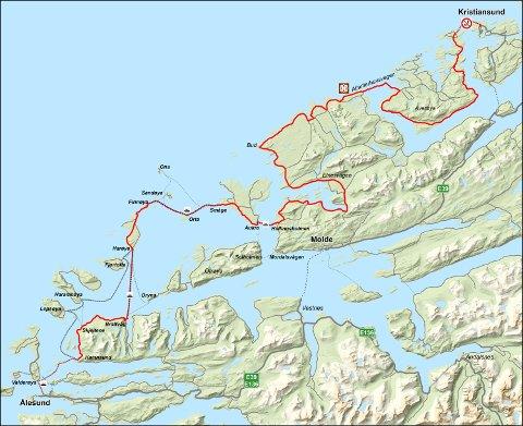 atlanterhavsveien kart Tidens Krav   Åpner nasjonal sykkelrute på Atlanterhavsveien atlanterhavsveien kart