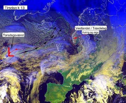 Her vises stormsenteret som er på vei nordover mot Vestlandet og Trøndelag. Foto: Meteorologisk institutt