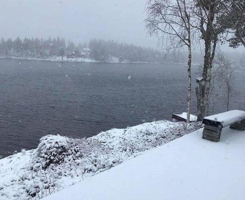 SNØ: Det kom flere centimeter med snø i Finnemarka ved Sandtjern søndag.