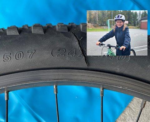 HÆRVERK: Mille Rakkestad Gangsø (8) er en av flere elever ved Ormåsen skole som har fått sykkelen sin ødelagt. Det synes hun er skummelt.