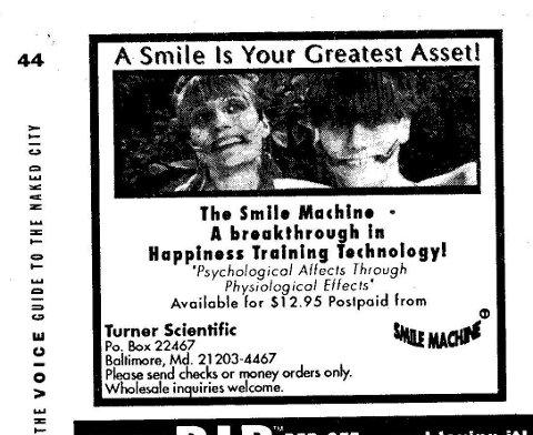 Allerede to år før vinter-OL på Lillehammer ble smilebøylen The Smile Machine annonsert i The Village Voice.