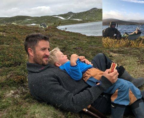 Jonas Aakre og sonen på Hardangervidda.  Kristen Seim (innfelt) håpar at lokale skal få nytta vidda framover.