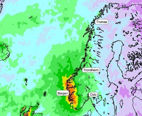 Grafikk Meteorologene på Twitter.