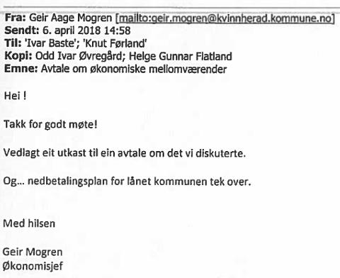 E-POSTBEVISET: Her er e-posten økonomisjef Geir Mogren sendte til mellom andre rådmannen 6. april. Som ein kan sjå, står opplysinga om låneovertakinga i sjølve e-posten òg, ikkje berre i vedlegget.