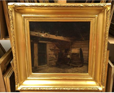 Carl Sundt-Hansen sitt måleri «Loft, Mehl i Kvinnherad» frå 1863 er no til sals (Foto: Galleri Hersleb).