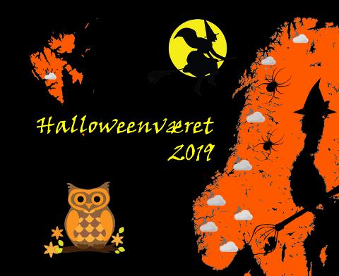 SKUMMELT VÆR: Slik presenterer Meterologisk institutt Halloween-været i Norge