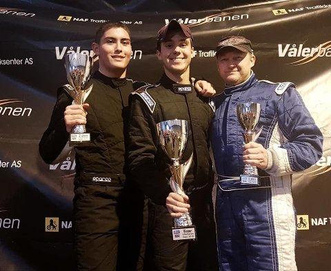 Christian Haugom(til venstre) med 2. plassen i Shortcar Bandit.