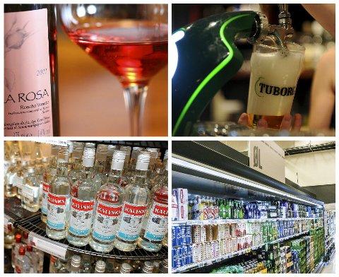 KLASSEFORSKJELL: Vin, øl på utested, brennevin fra Vinmonopolet eller øl kjøpt i butikken? Folk i Tønsberg, Sandefjord og Larvik har ulike preferanser for ulike klasser alkohol.