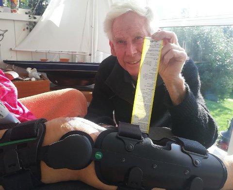 DYRT: Både bot og kneskinne ble med ekteparet Aandahl hjem fra sykehuset.