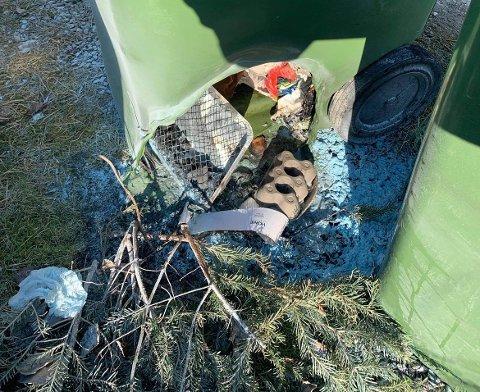 SVIDDE HULL: Engangsgrillen ble kastet i en avfallsdunk for papp og papir.