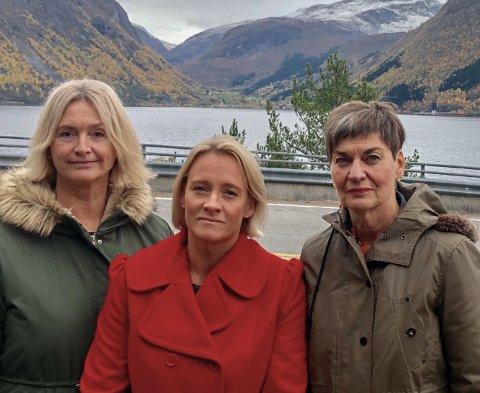 Uroa over skatteforslag: Frå v. Tove-Lise Torve, Yvonne Wold og Eva Hove.