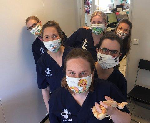 Gjengen på TeamVet Arken Dyreklinikk har fått nye masker