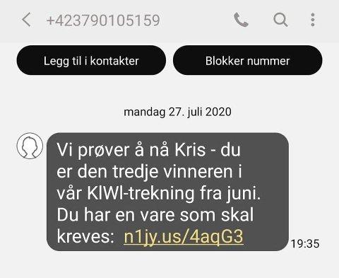 SVINDELFORSØK: – Ikke trykk på linken, sier kommunikasjonssjef Kristine Aakvaag Arvin for KIWI-kjeden.
