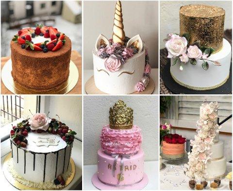 FARGERIKT OG KREATIVT: Her er et utvalg av kakene hun har delt oppskrifter og bilder av.