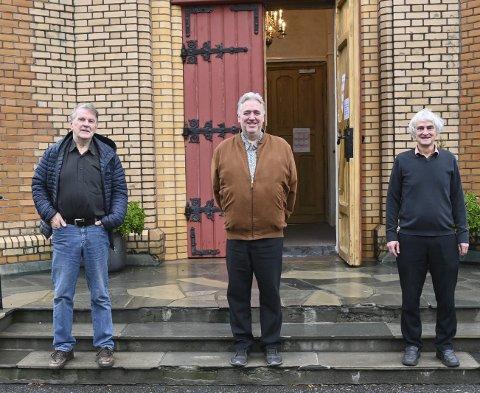 1. Olav Drevland, Harald Monsen og Robert Carding lover et omfattende program når Kragerø kirke fyller 150 år.
