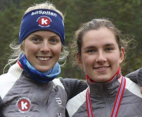 TO OG TRE: Nora Dokken Berget (t.v.) og Ingvid Tronstad Andersen ble nummer to og tre på fellesstarten for Kvinner 19 i Ål fredag.