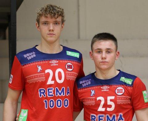 STAS: Thomas Stenersen (t.v.) og Isak Sanderød-Bakkerud leverte begge gode prestasjoner under helgens turnering med U-landslaget (LM02).
