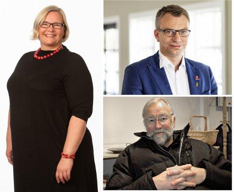 FRONTFIGURER: Hanne Fahsing (Rødt), Terje Settenøy (Fremskrittspartiet, øverst) og Åge Husby (Pensjonistpartiet) er tre av totalt fem namdalske listetopper foran høstens valg .