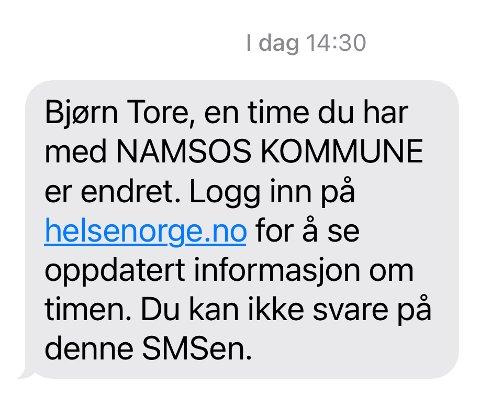 FEILMELDING: Fredag fikk flere denne meldingen fra Namsos kommune. Det viste seg å være en feil.