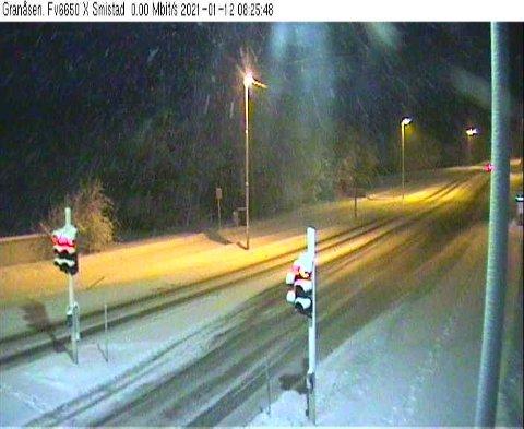 Trafikkamera på Granåsen klokken 08.40 tirsdag.