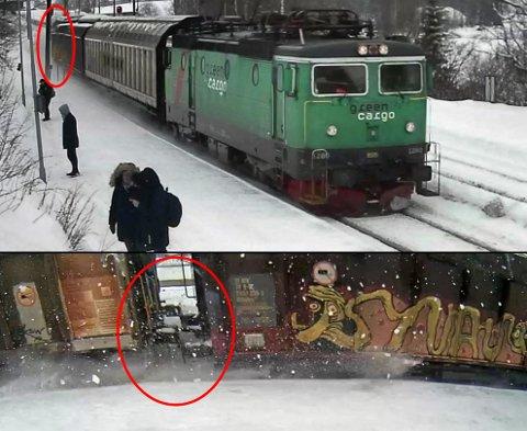 DRAMATISK: Her fanger overvåkingskameraene toget på vei gjennom stasjonen. Opptaket viser at en av vognene var avsporet på vei gjennom stasjonen. FOTO: SHT