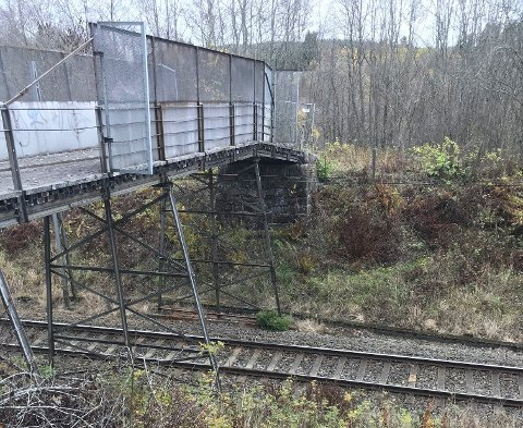 SVILLEBRO: Den gamle gangbrua over Spikkestadbanen utenfor Røyken sentrum er bygget opp av gamle jernbaneskinner. Det er noe usikkert når broa ble bygget, men det antas at den er av gammel årgang. Nå vil Bane NOR rive den.