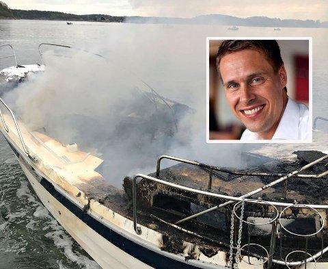– SKREMMENDE: Erik Thomas Enger kjørte til Melsomvik for å fiske sjøørret. Før han rakk å ta det første kastet, ropte en høyt til ham: «Se bak deg!». Han har hjulpet en av mennene som hopet fra den brennende båten, opp fra vannet.