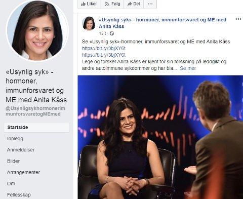 SVINDLERE: Arrangementet med Anita Kåss ble hacket. Hun advarer nå mot nye falske arrangementer hvor det blir krevet betaling. Faksimile Facebook