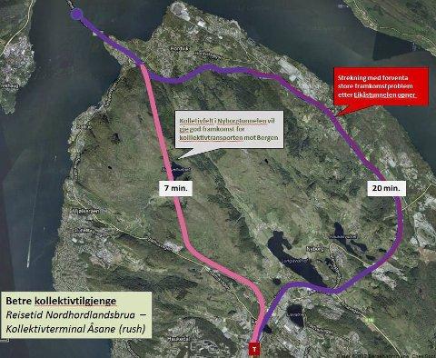 KVAR SKAL VEGEN GÅ: Dette er det fyrste forslaget til trasee for Nyborgtunnelen. Det einaste som er sikkert er at der skal den ikkje gå. No vil alle ha utløpet i Åsane flytta til Vågsbotn. ARKIVFOTO