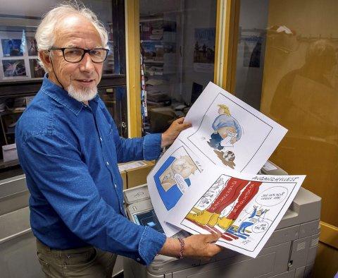 I TEGNESTUEN: Herbjørn Skogstad – mest kjent som Herb – har vært avistegner i 50 år. Nå skal han kommentere nyhetsbildet i BA hver mandag. FOTO: Brynjar Eidstuen, Oppland Arbeiderblad