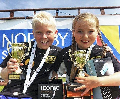 REKORDER: Emma Kirkeberg Mørk satte Europarekord og norsk rekord. Storebror Martin Kirkeberg Mørk satte ny pers.