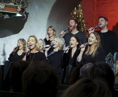 En sammensveiset gjeng: The Gospel Group framførte en rekke kjente sanger med rene og klare toner i Enebakk kirke.