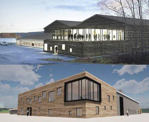 Den gamle (oppe) og den nye arkitekttegningen av nye Tistedalshallen.
