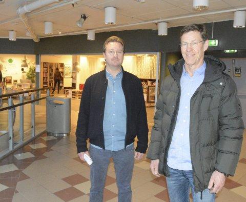 NY RETNING : I det siste har det blitt mer liv på Torghjørnet etter at blant annet UFF x Resirkula og Stitsj flyttet inn. Kjøpesenteret er i ferd med å få en grønn profil som skiller seg ut i markedet og eiendomssjefen i Utstillingsplassen Eiendom, Nils Olssøn Østby-Deglum og Terje Kojedal bekrefter at dette er en bevisst strategi.