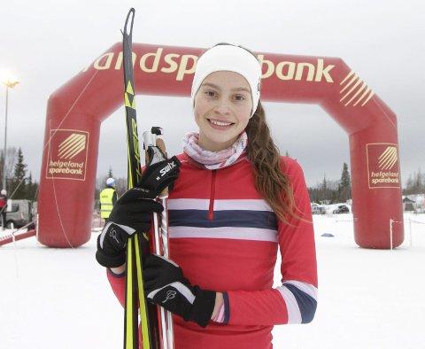 KM på ski Sjåmoen fristil. Arrangør Mosjøen IL Ski. Kretsmester i J17 Jenny Vangberg Jensen, Innstrandens