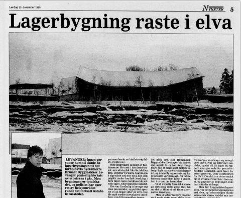 LEIRAS VED ELVA: Et av de nyere leirskredene i Levanger kommune var et mindre kred da Byggmakker-tomta på Trekanten raste ut i Levangerelva like før jul i 1995. Ingen ble skadd.