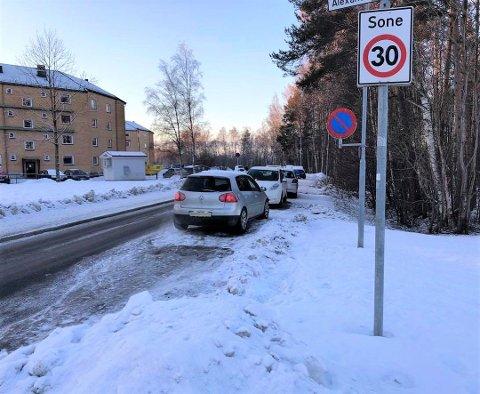 FORBUDT: Denne uken satte kommunen opp parkering forbudt-skilt i den trafikkerte gata. Det er det imidlertid mange som ikke har fått med seg.