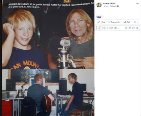 """DEDIKERT: """"Men når 13 år gamle Sondre Justad flyr på egenhånd fra Henningsvær til Oslo, gjør popveteranen et unntak. Så imponert er han av unge Sondres evne til å stå på"""", skrev det tidligere ukebladet """"Alle Menn"""" i 2004."""
