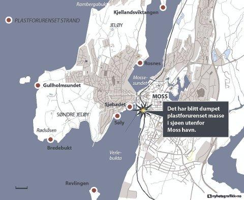Her: Kartet viser strender hvor plastavfall er skyllet i land. Folk har funnet plast både i Mossesundet og på vestsiden av Jeløy. Kart: Nyhetsgrafikk
