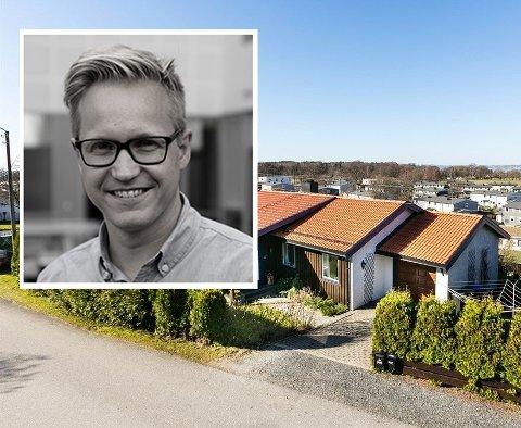 GIS BORT: Stian Thorsrud og familien gir bort dette huset på Tronvik.
