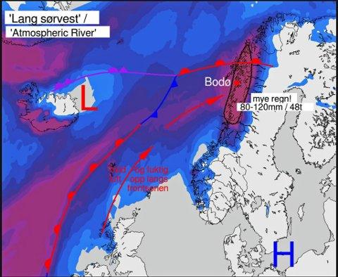 VARMT OG VÅTT: Modellen viser hvordan høytrykket i sørvest presser lavtrykket fra Island inn mot Nord-Norge. Samtidig kommer det inn varm luft fra Irland.