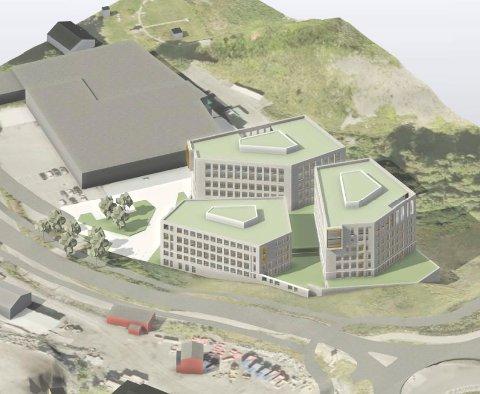 BYGGEPLANER: Slik tenker utbygger Fokserødsveien 29 AS seg de tre bygningene vest for mammutkrysset. (Illustrasjon: Stub Eiendom AS)