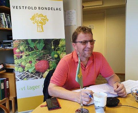 OVER NETT: Thorleif Müller, leder av Vestfold Bondelag, var med på det digitale møtet der klimaplanen ble vedtatt.