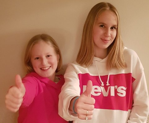 HÅRFIN: Amalie Sofi (10) og storesøster Amanda Lois (16) har begge klipt seg kort og donert håret til trengande.