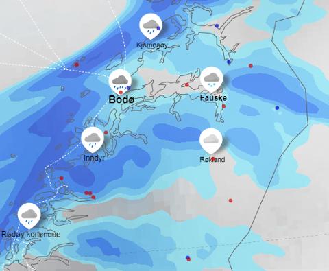 REGNVÆR: Store deler av Salten og resten av Nordland vil få regnbyger på onsdag. Dette værkartet er fra onsdag klokken 15.00.