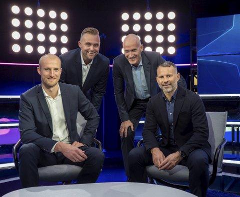 Champions League-studio i TV 2 med (f.v.) Brede Hangeland, Jon Børrestad, Erik Thorstvedt og Ryan Giggs. Om to år er moroen slutt.
