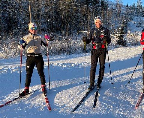 TRENINGSKOMPISER: Helene Marie Fosseholm og Per Ingvar Tollhaug trener mye sammen. Begge representerer klubben Eiker ski. Fosseholm gikk tirsdag inn til sitt første NM-gull som senior.