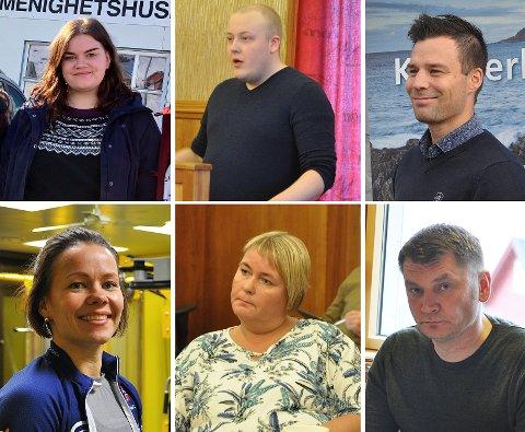 Sharon Fjellvang, Tarald Nikolaisen, Ruben Alseth, Sirin Fingenschou Høyen, Renate Olsen og Dan Nilsen i Nordkapp Høyre.