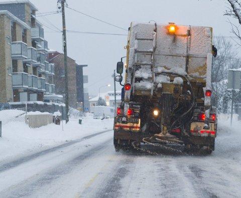 Mye snø: Slik så det ut søndag da snøen lavet ned i byen.foto: trond thorvaldsen